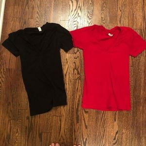 American apparel t-shirt v neck bundle